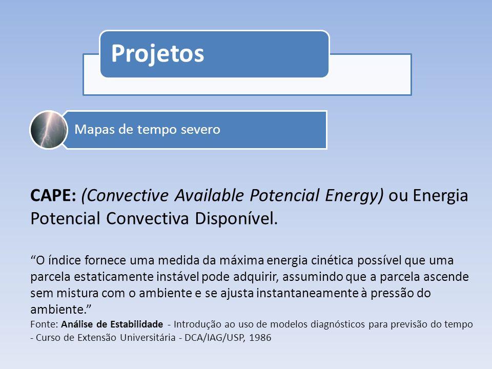 Projetos Concurso de fotografias meteorológicasNomeação de CiclonesMapas de tempo severo CAPE: (Convective Available Potencial Energy) ou Energia Pote