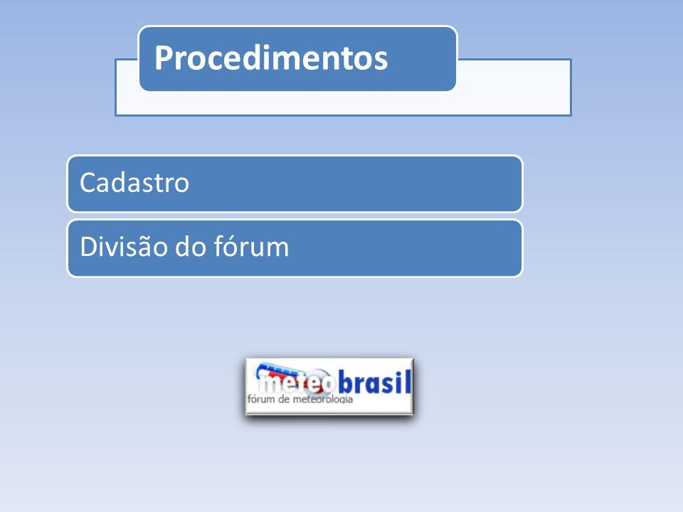 Procedimentos CadastroDivisão do fórum