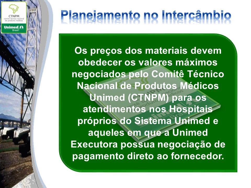 Os preços dos materiais devem obedecer os valores máximos negociados pelo Comitê Técnico Nacional de Produtos Médicos Unimed (CTNPM) para os atendimen
