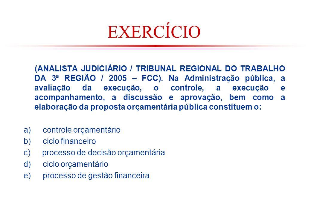 EXERCÍCIO (ANALISTA JUDICIÁRIO / TRIBUNAL REGIONAL DO TRABALHO DA 3ª REGIÃO / 2005 – FCC).