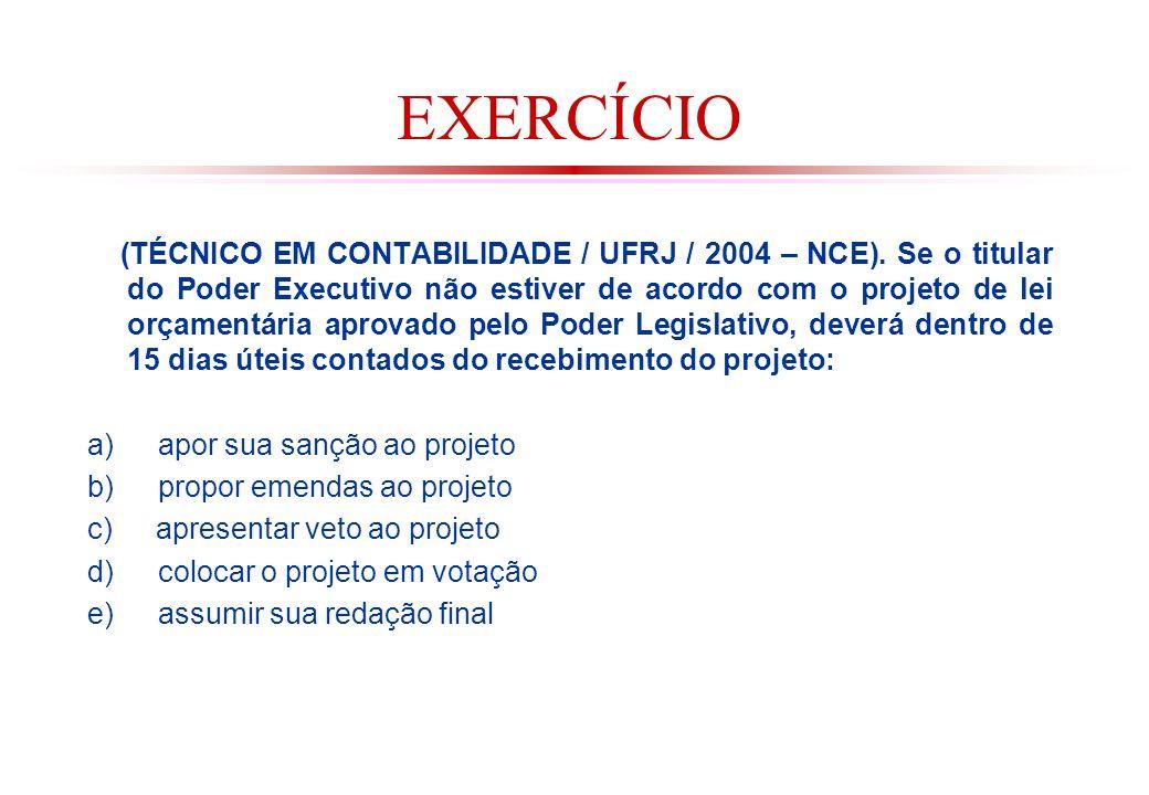 EXERCÍCIO (TÉCNICO EM CONTABILIDADE / UFRJ / 2004 – NCE).