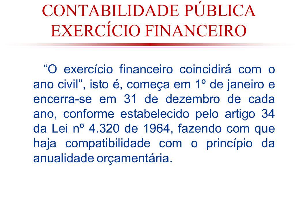CONTABILIDADE PÚBLICA EXERCÍCIO FINANCEIRO O exercício financeiro coincidirá com o ano civil, isto é, começa em 1º de janeiro e encerra-se em 31 de dezembro de cada ano, conforme estabelecido pelo artigo 34 da Lei nº 4.320 de 1964, fazendo com que haja compatibilidade com o princípio da anualidade orçamentária.
