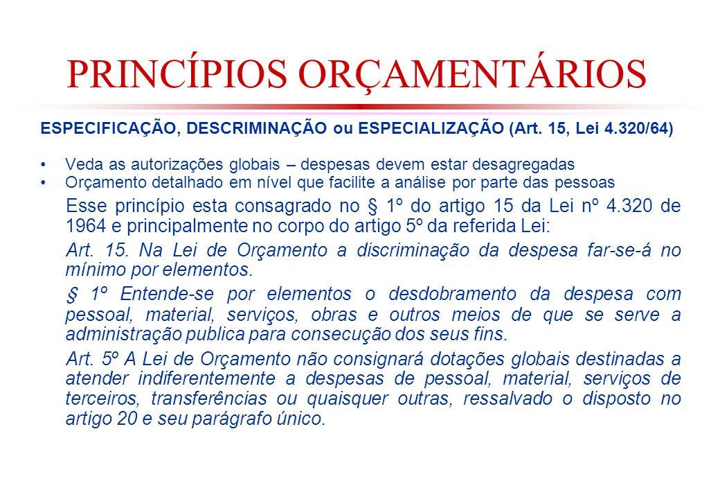 PRINCÍPIOS ORÇAMENTÁRIOS ESPECIFICAÇÃO, DESCRIMINAÇÃO ou ESPECIALIZAÇÃO (Art.