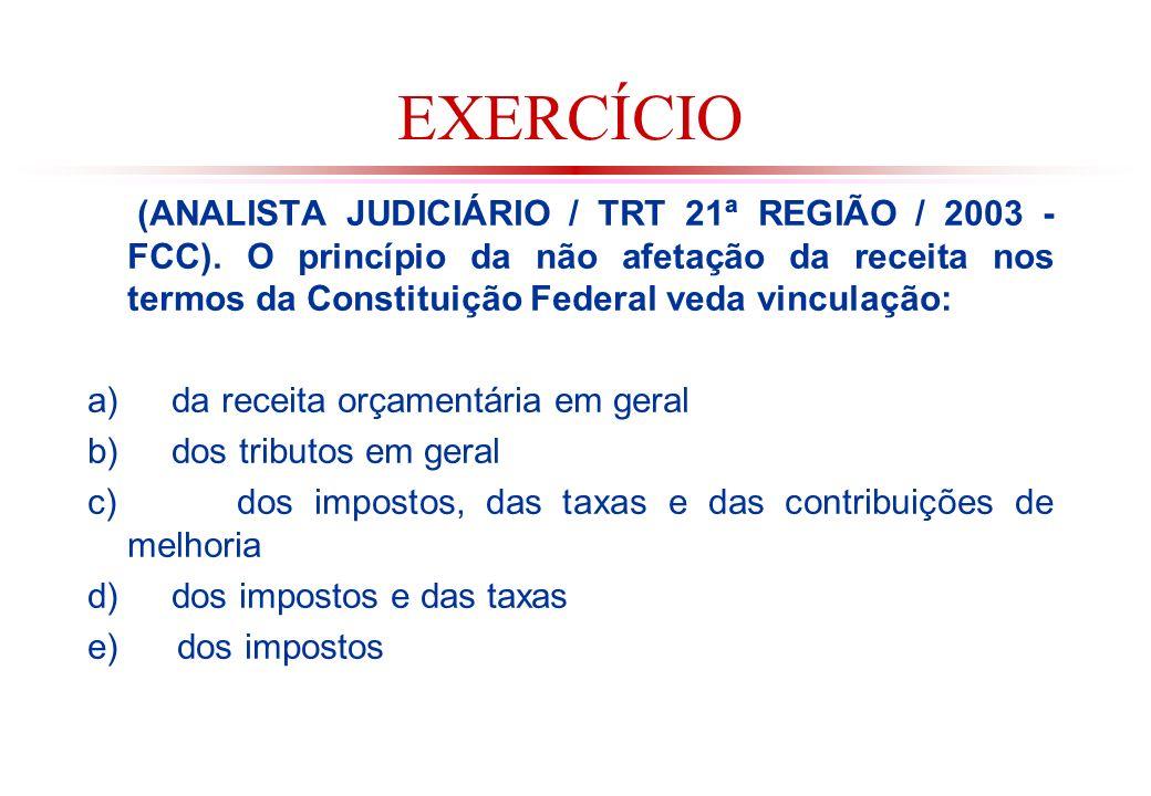 EXERCÍCIO (ANALISTA JUDICIÁRIO / TRT 21ª REGIÃO / 2003 - FCC).