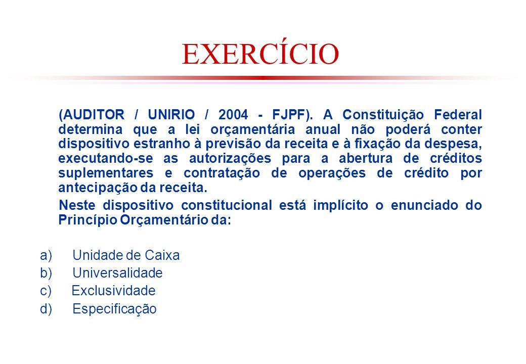 EXERCÍCIO (AUDITOR / UNIRIO / 2004 - FJPF).