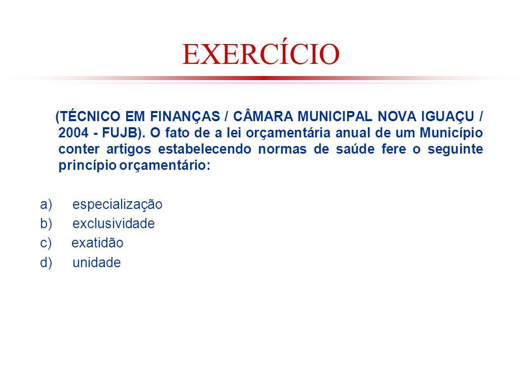 EXERCÍCIO (TÉCNICO EM FINANÇAS / CÂMARA MUNICIPAL NOVA IGUAÇU / 2004 - FUJB).