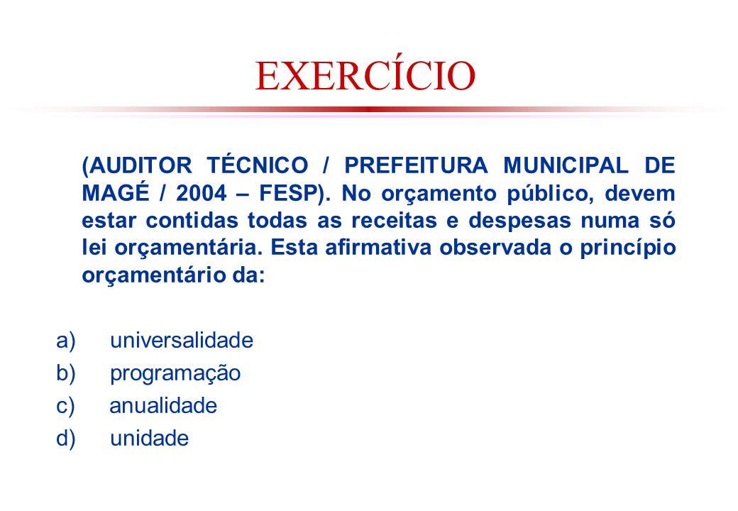 EXERCÍCIO (AUDITOR TÉCNICO / PREFEITURA MUNICIPAL DE MAGÉ / 2004 – FESP).