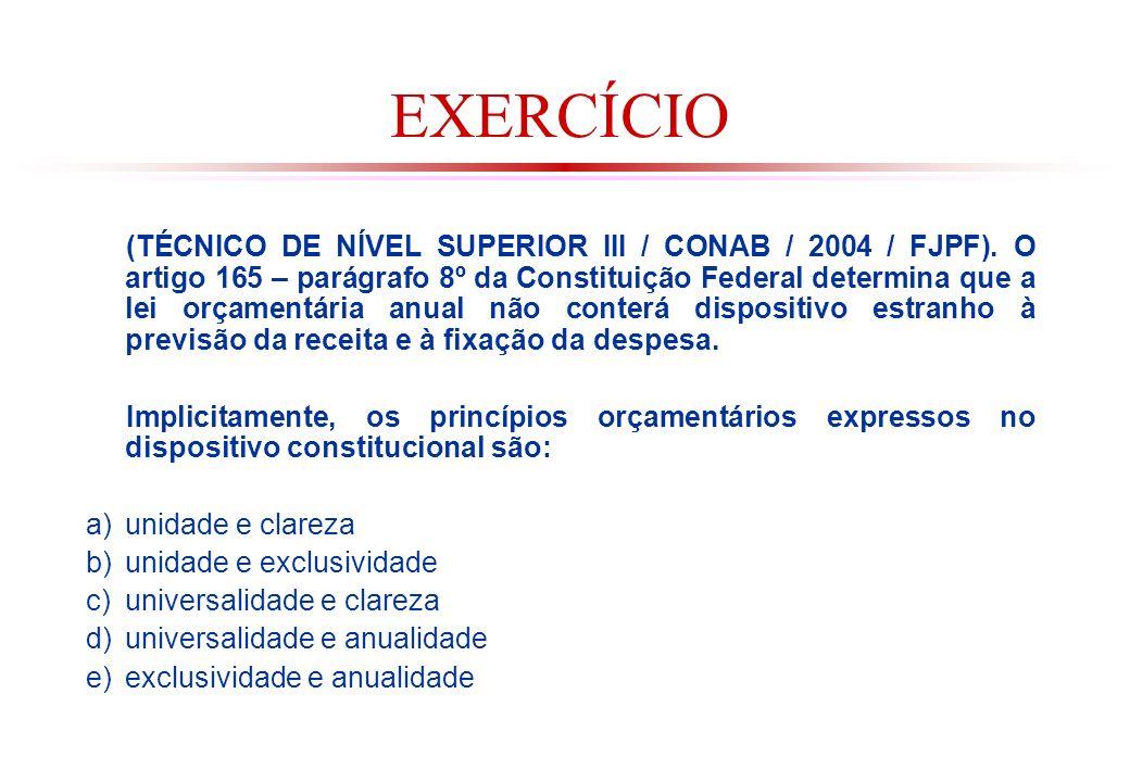 EXERCÍCIO (TÉCNICO DE NÍVEL SUPERIOR III / CONAB / 2004 / FJPF).