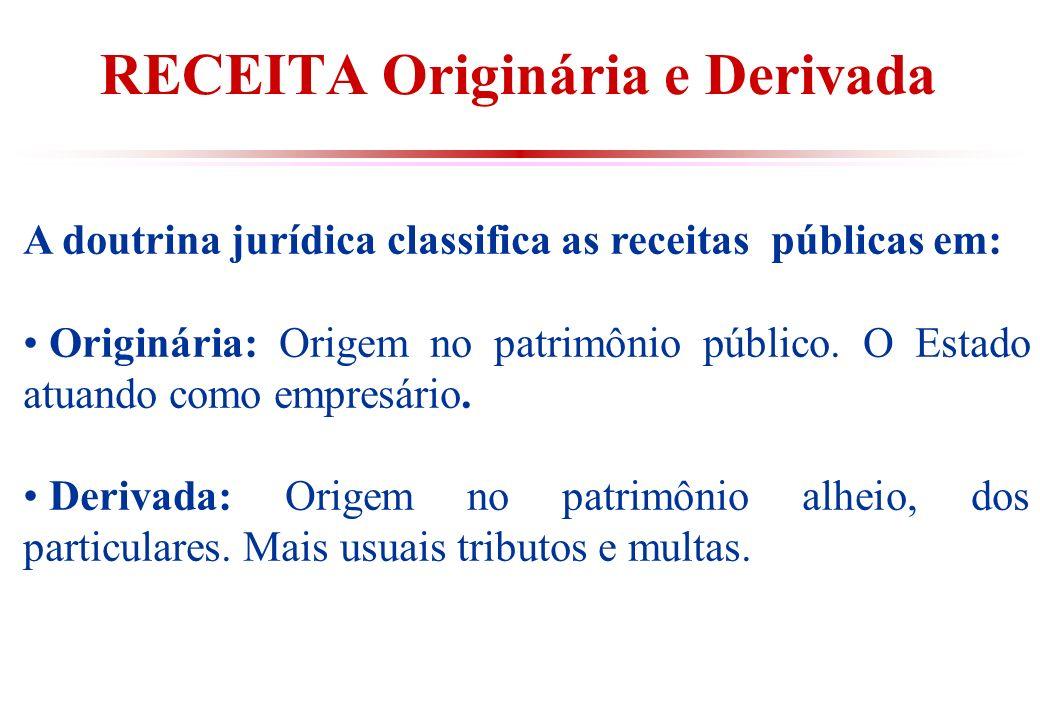 RECEITA Originária e Derivada A doutrina jurídica classifica as receitas públicas em: Originária: Origem no patrimônio público.