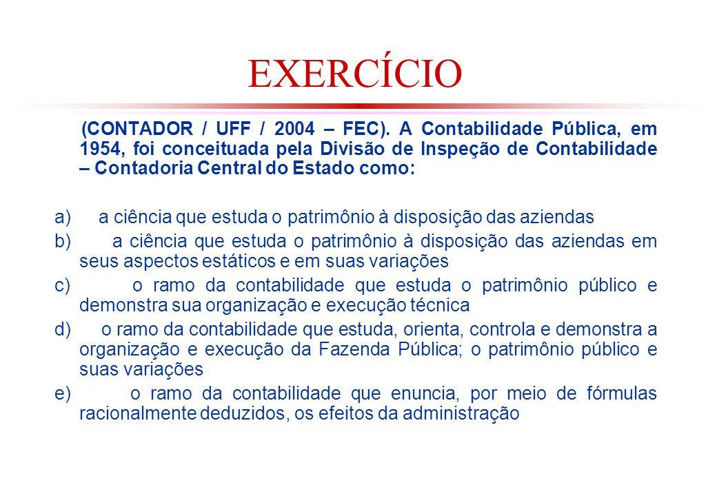 EXERCÍCIO (CONTADOR / UFF / 2004 – FEC).