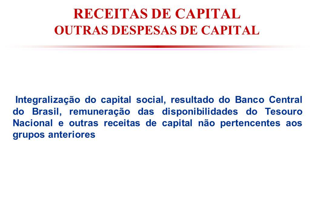 RECEITAS DE CAPITAL OUTRAS DESPESAS DE CAPITAL Integralização do capital social, resultado do Banco Central do Brasil, remuneração das disponibilidades do Tesouro Nacional e outras receitas de capital não pertencentes aos grupos anteriores
