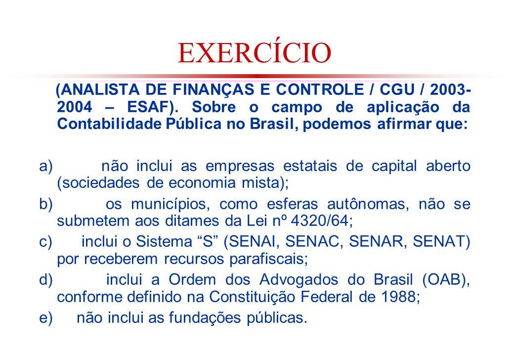 EXERCÍCIO (ANALISTA DE FINANÇAS E CONTROLE / CGU / 2003- 2004 – ESAF).