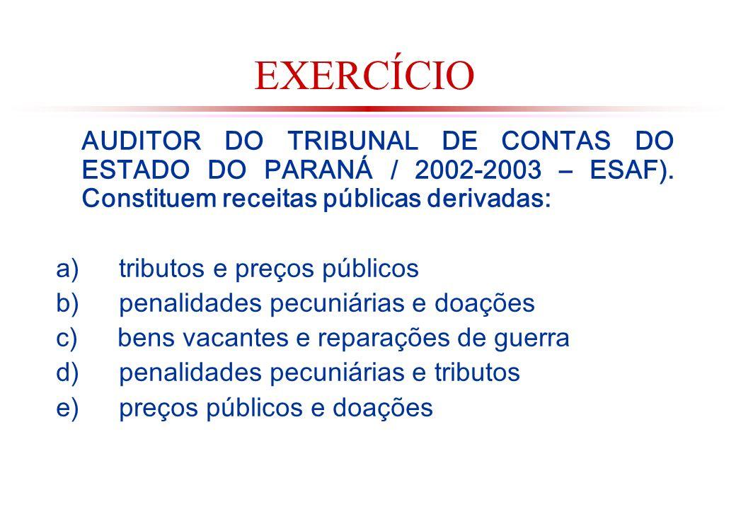 EXERCÍCIO AUDITOR DO TRIBUNAL DE CONTAS DO ESTADO DO PARANÁ / 2002-2003 – ESAF).
