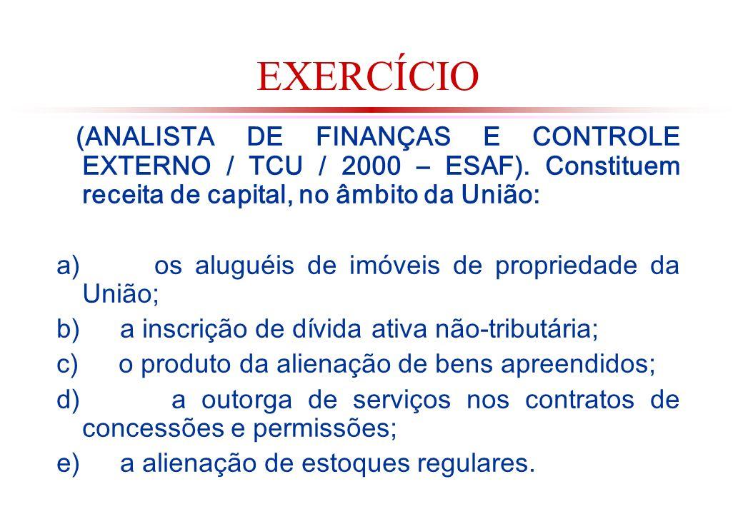 EXERCÍCIO (ANALISTA DE FINANÇAS E CONTROLE EXTERNO / TCU / 2000 – ESAF).