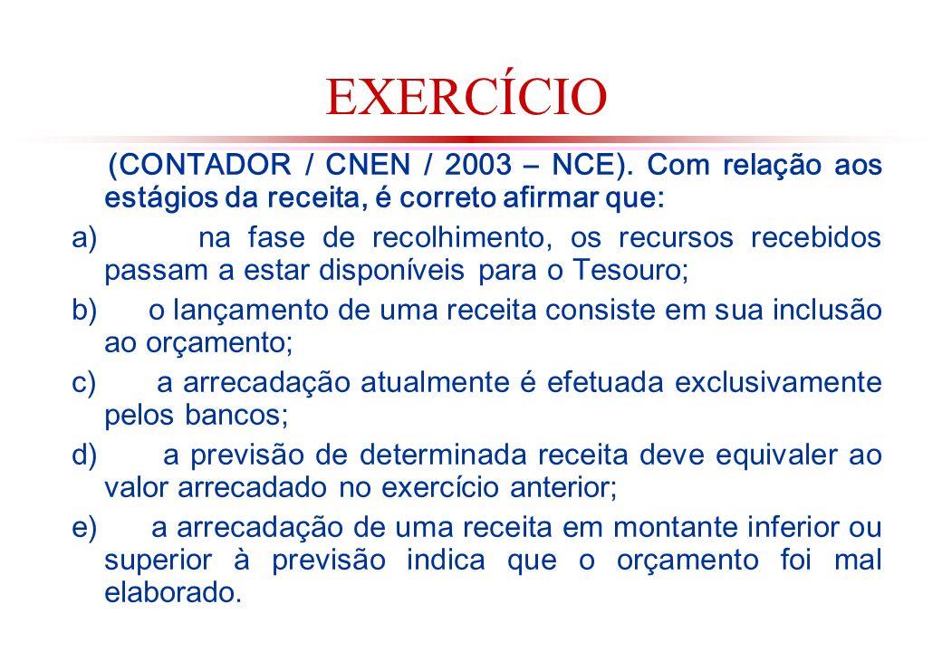 EXERCÍCIO (CONTADOR / CNEN / 2003 – NCE).