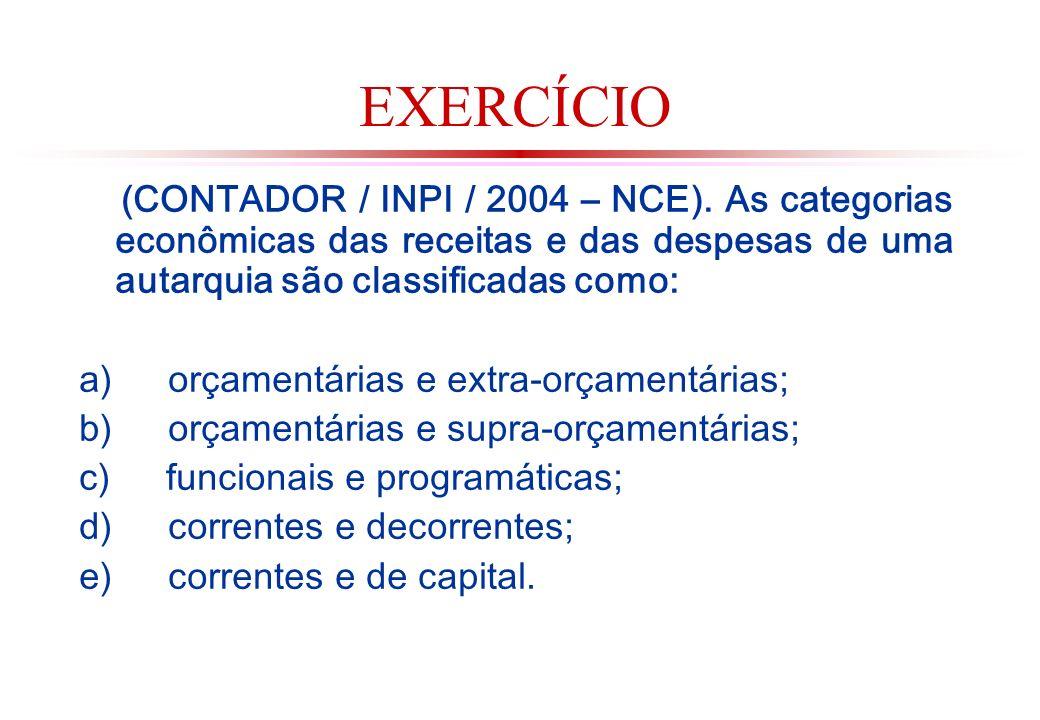 EXERCÍCIO (CONTADOR / INPI / 2004 – NCE).