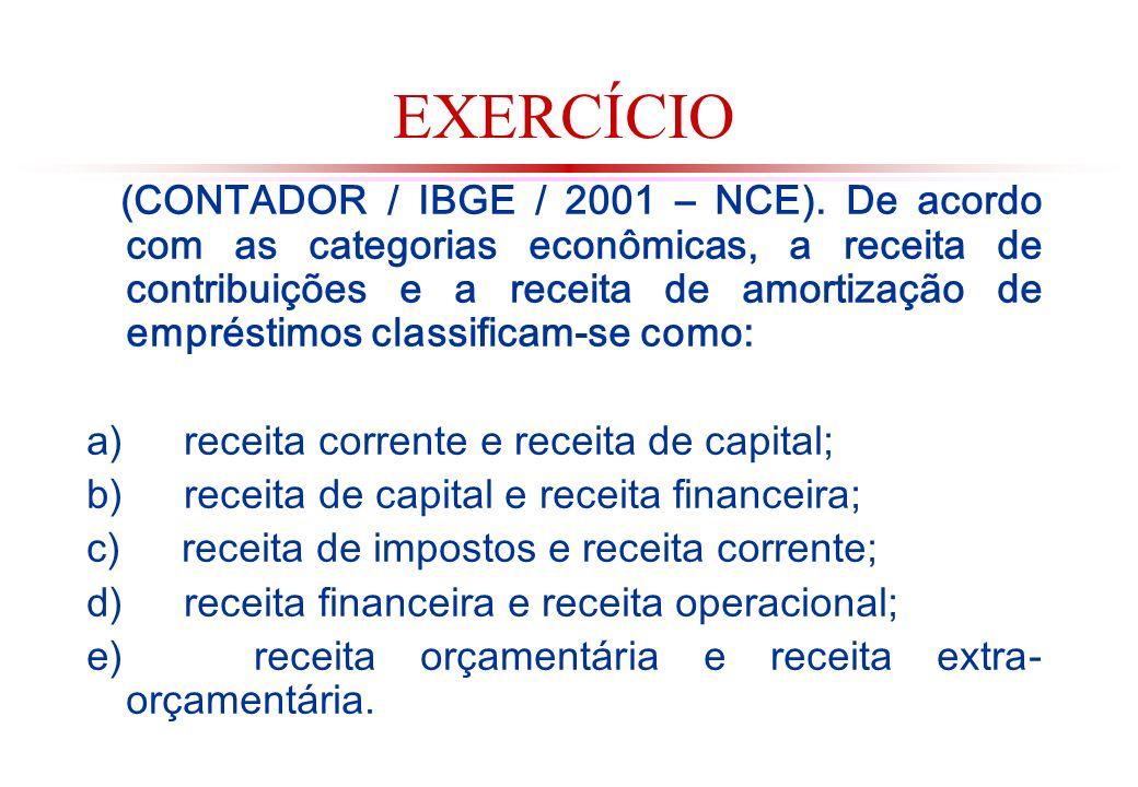 EXERCÍCIO (CONTADOR / IBGE / 2001 – NCE).