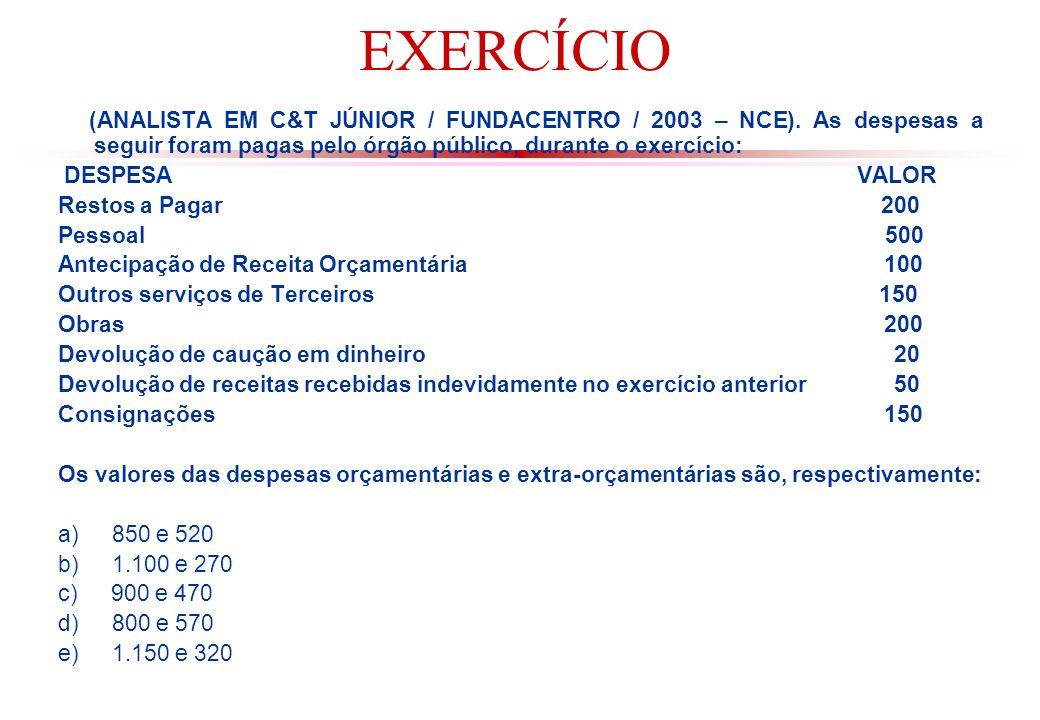 EXERCÍCIO (ANALISTA EM C&T JÚNIOR / FUNDACENTRO / 2003 – NCE).