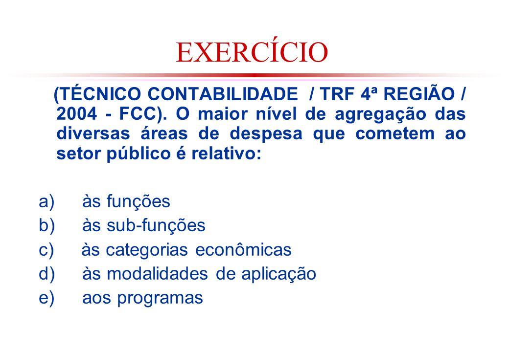 EXERCÍCIO (TÉCNICO CONTABILIDADE / TRF 4ª REGIÃO / 2004 - FCC).