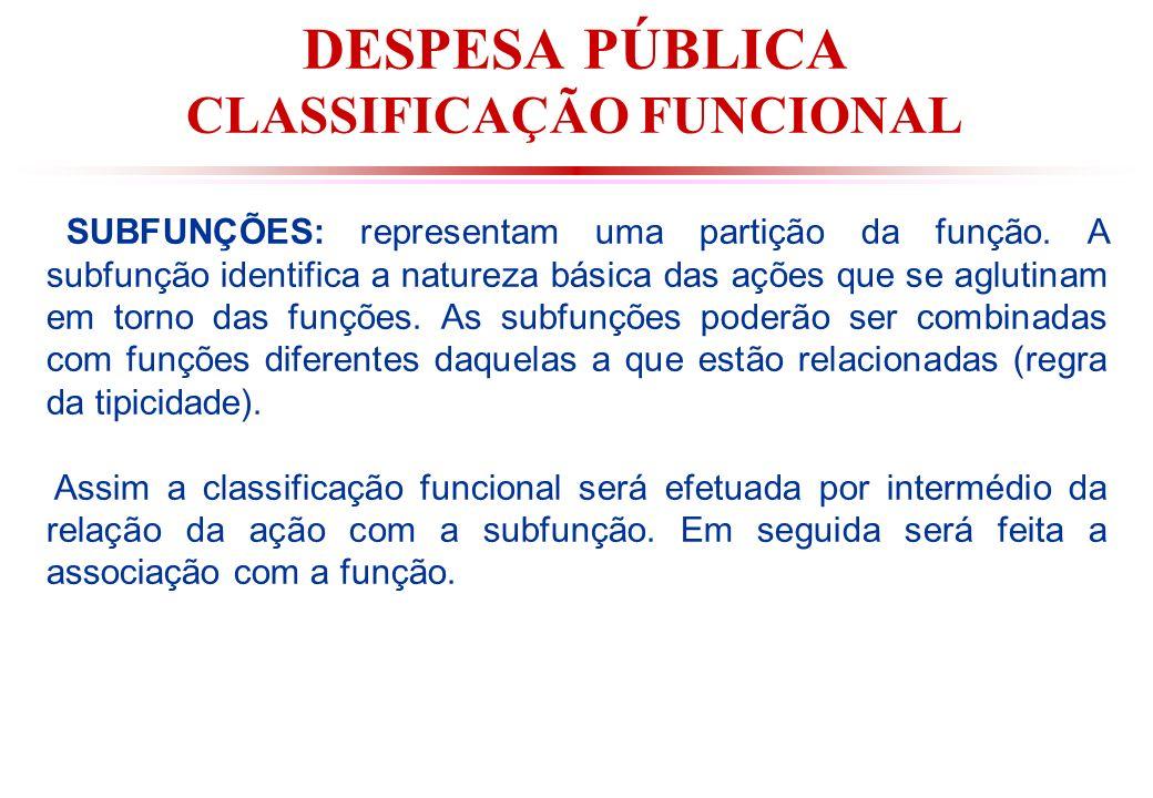 DESPESA PÚBLICA CLASSIFICAÇÃO FUNCIONAL SUBFUNÇÕES: representam uma partição da função.