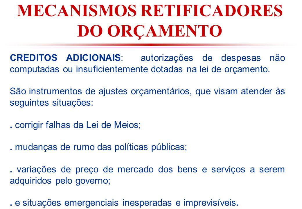 MECANISMOS RETIFICADORES DO ORÇAMENTO CREDITOS ADICIONAIS: autorizações de despesas não computadas ou insuficientemente dotadas na lei de orçamento.