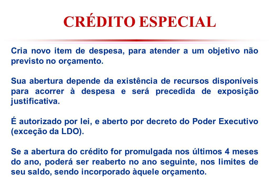 CRÉDITO ESPECIAL Cria novo item de despesa, para atender a um objetivo não previsto no orçamento.