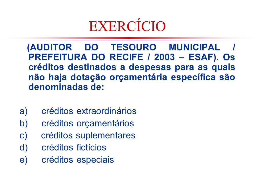 EXERCÍCIO (AUDITOR DO TESOURO MUNICIPAL / PREFEITURA DO RECIFE / 2003 – ESAF).