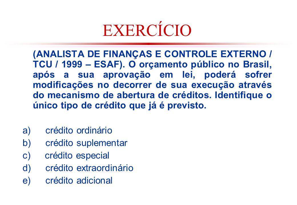 EXERCÍCIO (ANALISTA DE FINANÇAS E CONTROLE EXTERNO / TCU / 1999 – ESAF).
