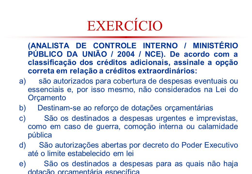 EXERCÍCIO (ANALISTA DE CONTROLE INTERNO / MINISTÉRIO PÚBLICO DA UNIÃO / 2004 / NCE).
