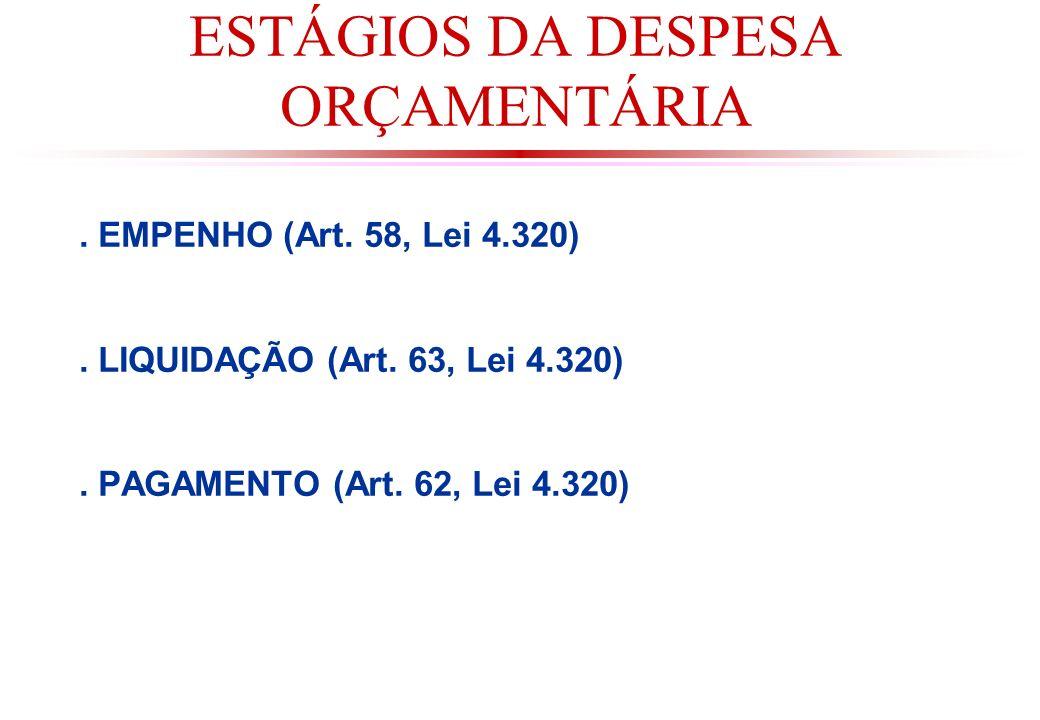 ESTÁGIOS DA DESPESA ORÇAMENTÁRIA.EMPENHO (Art. 58, Lei 4.320).