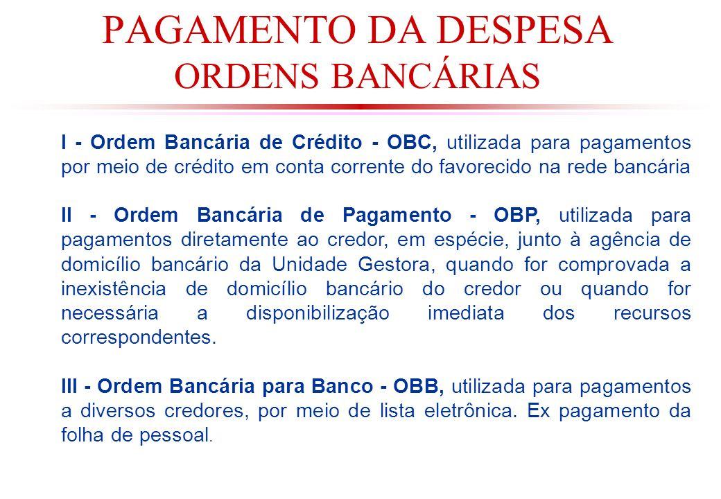 PAGAMENTO DA DESPESA ORDENS BANCÁRIAS I - Ordem Bancária de Crédito - OBC, utilizada para pagamentos por meio de crédito em conta corrente do favorecido na rede bancária II - Ordem Bancária de Pagamento - OBP, utilizada para pagamentos diretamente ao credor, em espécie, junto à agência de domicílio bancário da Unidade Gestora, quando for comprovada a inexistência de domicílio bancário do credor ou quando for necessária a disponibilização imediata dos recursos correspondentes.