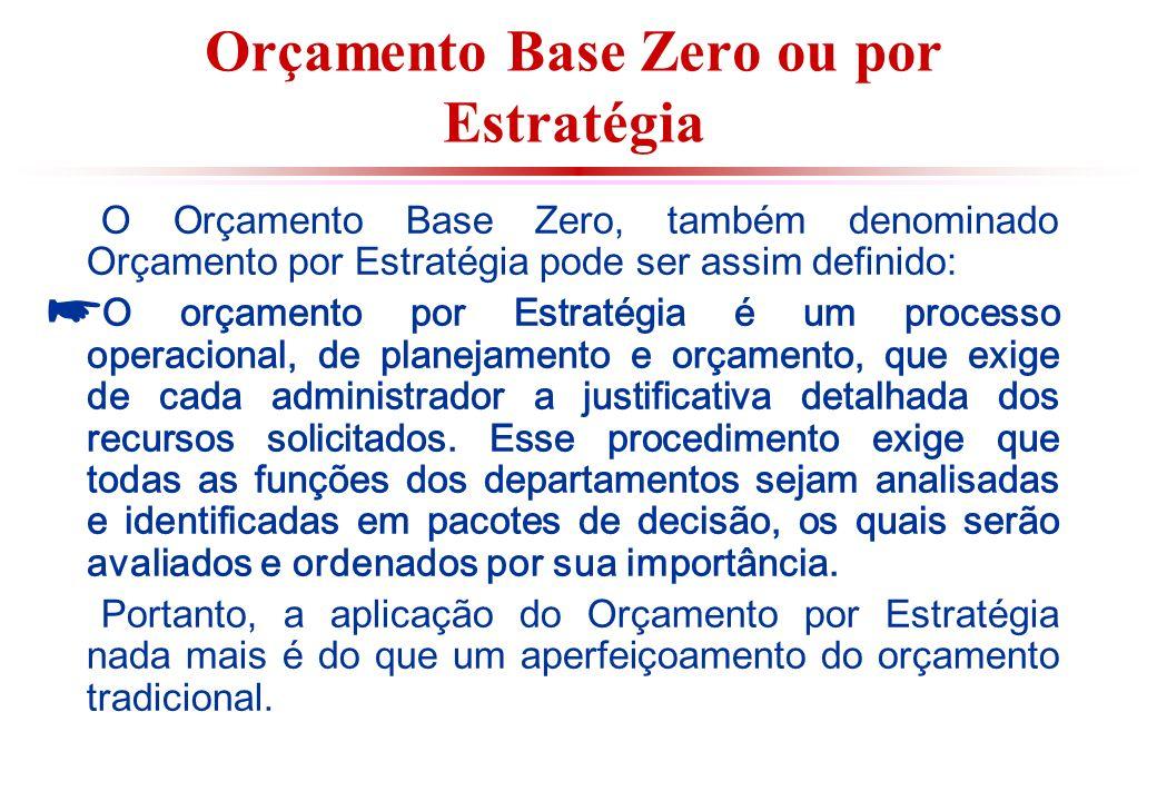 Orçamento Base Zero ou por Estratégia O Orçamento Base Zero, também denominado Orçamento por Estratégia pode ser assim definido: O orçamento por Estratégia é um processo operacional, de planejamento e orçamento, que exige de cada administrador a justificativa detalhada dos recursos solicitados.
