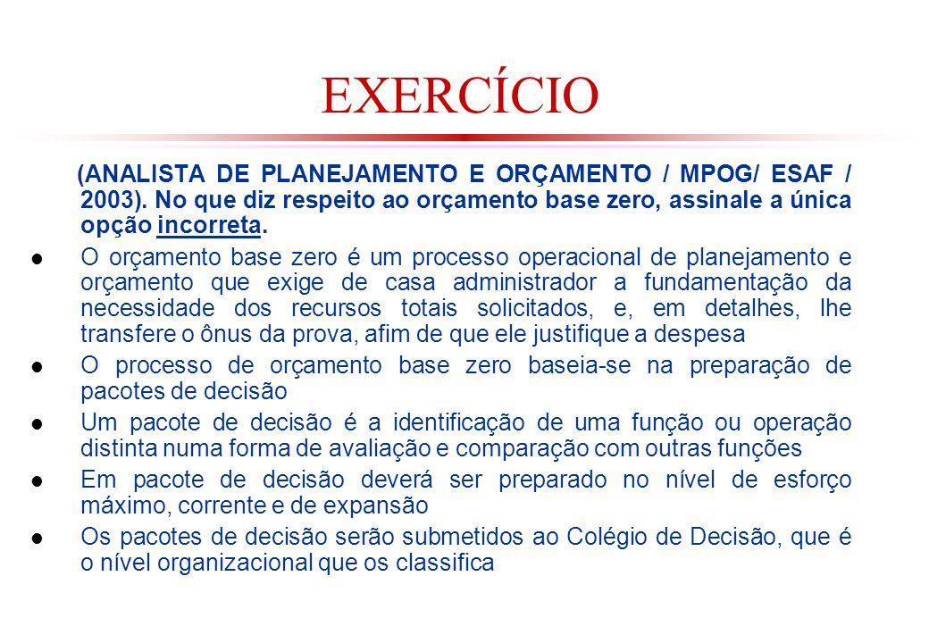EXERCÍCIO (ANALISTA DE PLANEJAMENTO E ORÇAMENTO / MPOG/ ESAF / 2003).