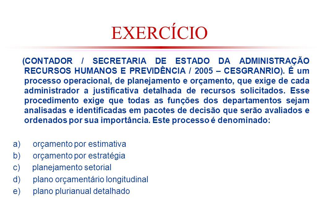 EXERCÍCIO (CONTADOR / SECRETARIA DE ESTADO DA ADMINISTRAÇÃO RECURSOS HUMANOS E PREVIDÊNCIA / 2005 – CESGRANRIO).