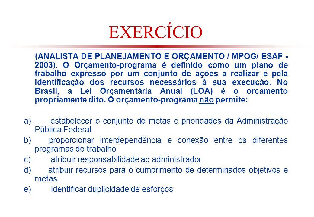 EXERCÍCIO (ANALISTA DE PLANEJAMENTO E ORÇAMENTO / MPOG/ ESAF - 2003).