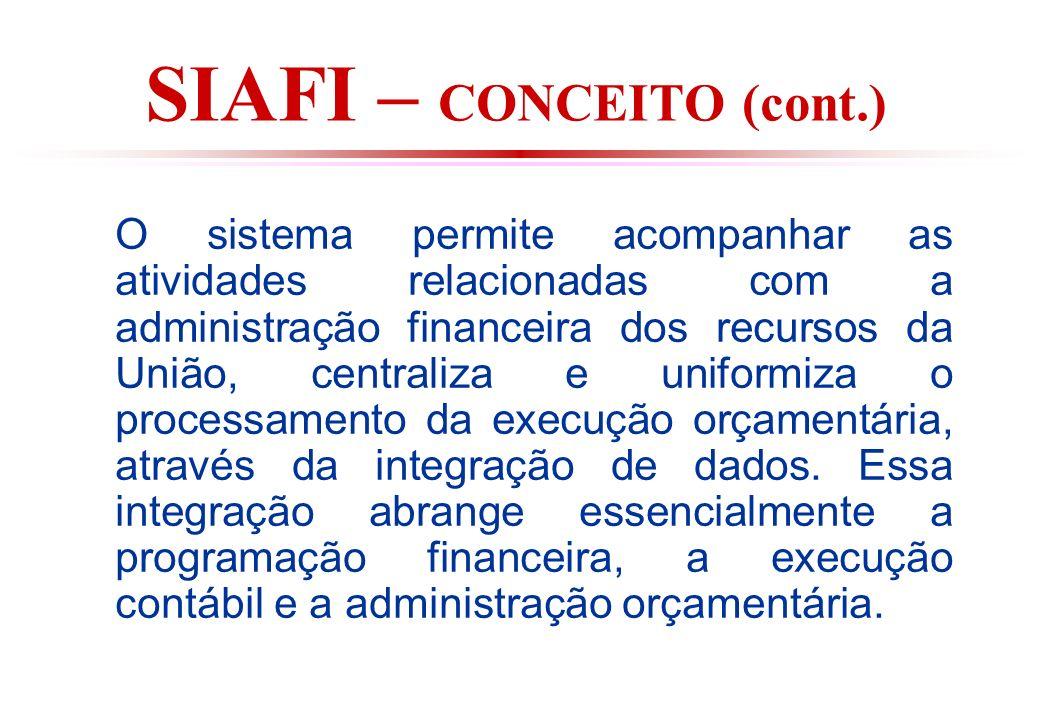 SIAFI – CONCEITO (cont.) O sistema permite acompanhar as atividades relacionadas com a administração financeira dos recursos da União, centraliza e uniformiza o processamento da execução orçamentária, através da integração de dados.