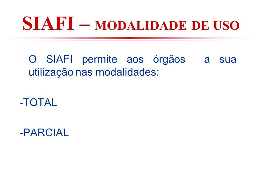 SIAFI – MODALIDADE DE USO O SIAFI permite aos órgãos a sua utilização nas modalidades: -TOTAL -PARCIAL