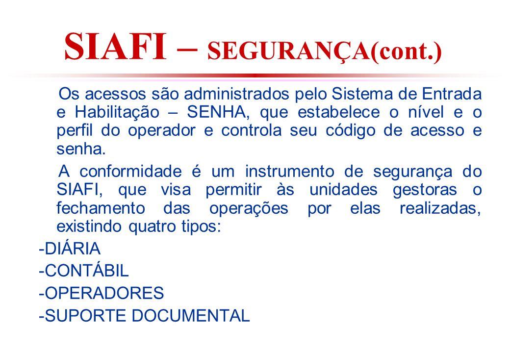 SIAFI – SEGURANÇA(cont.) Os acessos são administrados pelo Sistema de Entrada e Habilitação – SENHA, que estabelece o nível e o perfil do operador e controla seu código de acesso e senha.