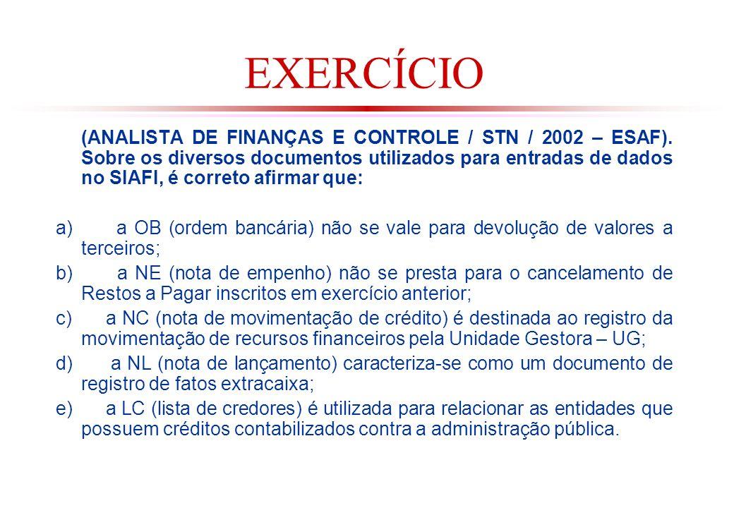 EXERCÍCIO (ANALISTA DE FINANÇAS E CONTROLE / STN / 2002 – ESAF).