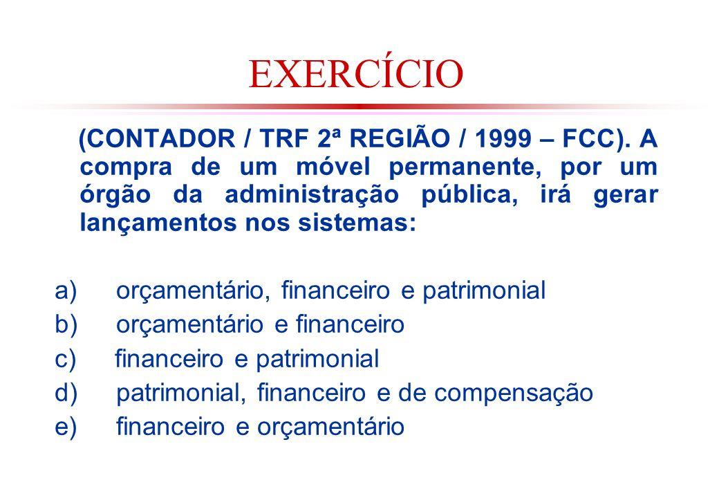 EXERCÍCIO (CONTADOR / TRF 2ª REGIÃO / 1999 – FCC).