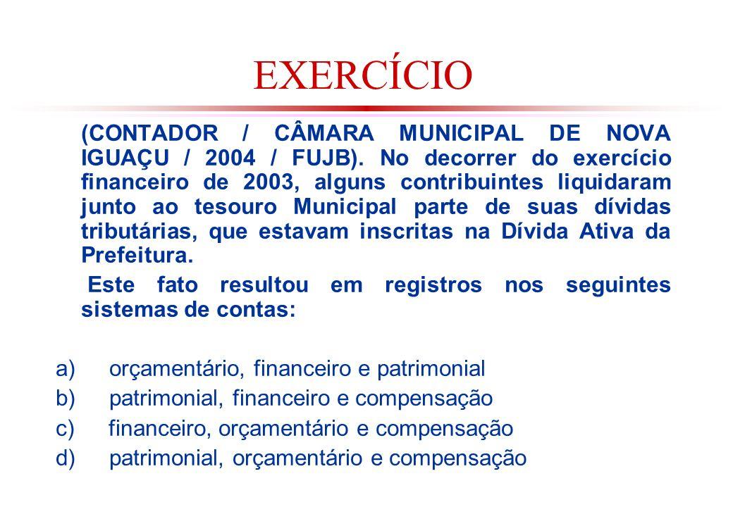 EXERCÍCIO (CONTADOR / CÂMARA MUNICIPAL DE NOVA IGUAÇU / 2004 / FUJB).