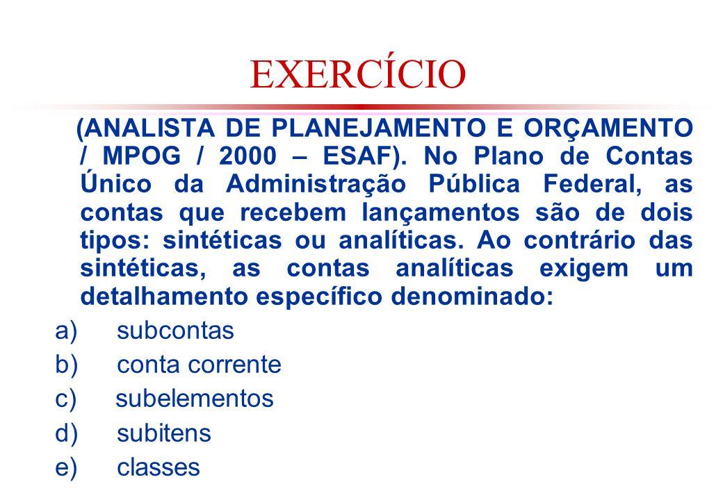 EXERCÍCIO (ANALISTA DE PLANEJAMENTO E ORÇAMENTO / MPOG / 2000 – ESAF).