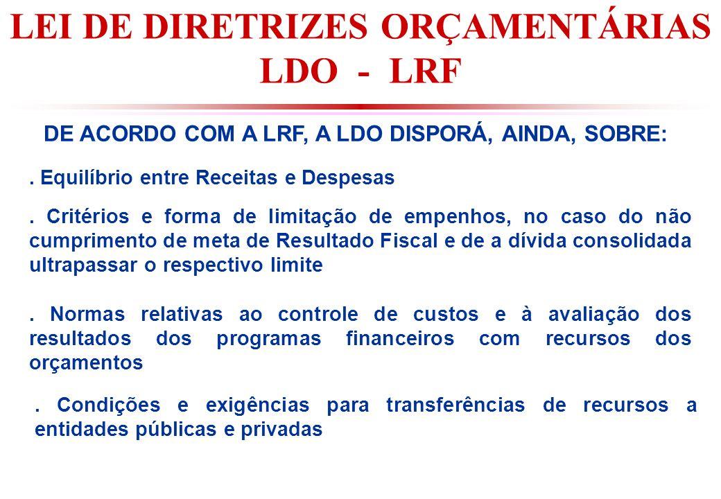 LEI DE DIRETRIZES ORÇAMENTÁRIAS LDO - LRF DE ACORDO COM A LRF, A LDO DISPORÁ, AINDA, SOBRE:.