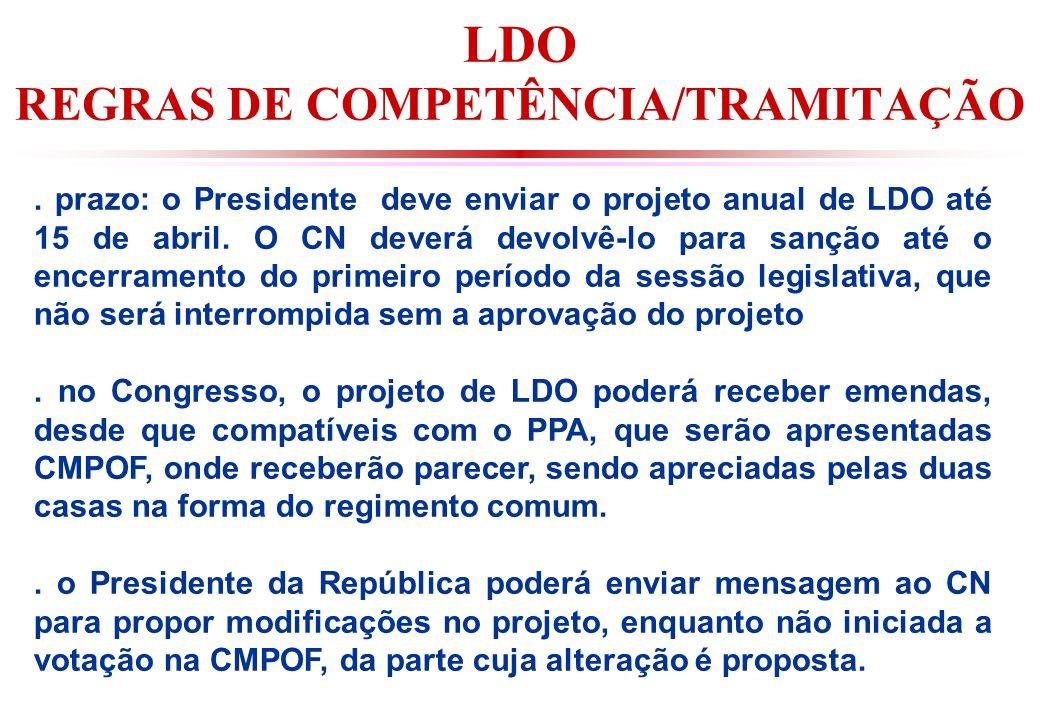 LDO REGRAS DE COMPETÊNCIA/TRAMITAÇÃO.