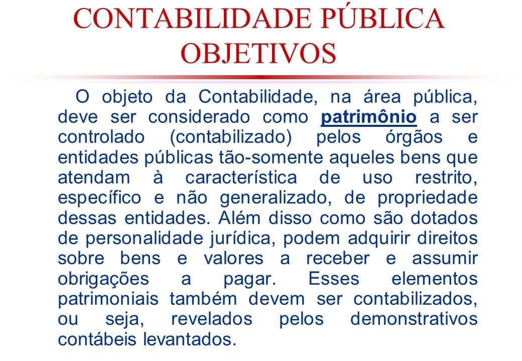 CONTABILIDADE PÚBLICA OBJETIVOS (cont.) Ao bens públicos de uso geral ou comum e indiscriminado por parte da população, como por exemplo: rodovias, praças, viadutos etc.,NÃO SÃO CONTABILIZADOS (objeto da Contabilidade Pública) pelos órgãos encarregados de sua construção e/ou manutenção, apesar de terem sido utilizados recursos públicos na sua construção e manutenção, e ainda que sejam denominados bens públicos.