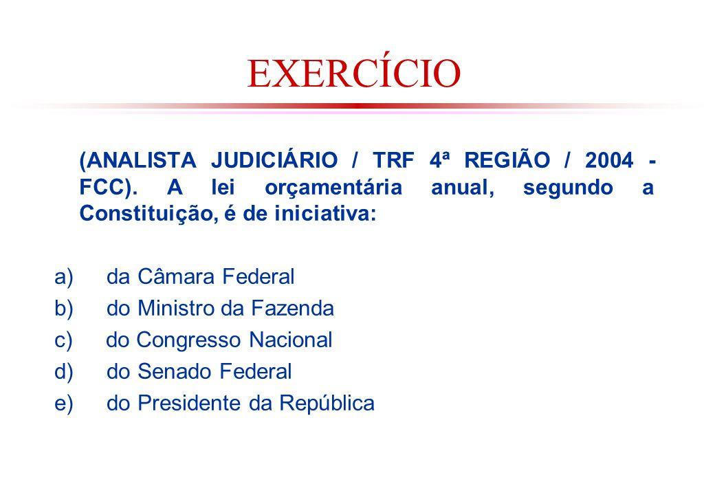 EXERCÍCIO (ANALISTA JUDICIÁRIO / TRF 4ª REGIÃO / 2004 - FCC).