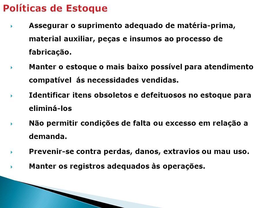 Assegurar o suprimento adequado de matéria-prima, material auxiliar, peças e insumos ao processo de fabricação. Manter o estoque o mais baixo possível