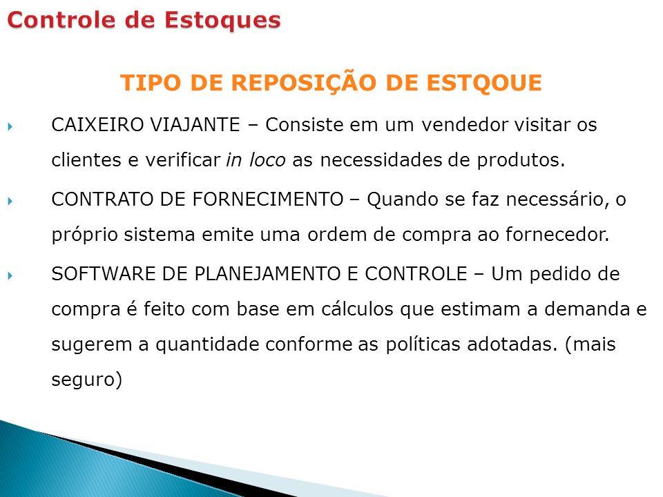 TIPO DE REPOSIÇÃO DE ESTQOUE CAIXEIRO VIAJANTE – Consiste em um vendedor visitar os clientes e verificar in loco as necessidades de produtos.