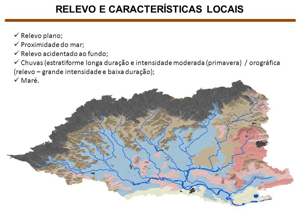 RELEVO E CARACTERÍSTICAS LOCAIS Relevo plano; Proximidade do mar; Relevo acidentado ao fundo; Chuvas (estratiforme longa duração e intensidade moderad