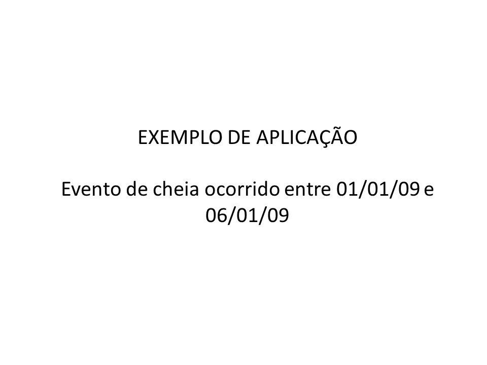 EXEMPLO DE APLICAÇÃO Evento de cheia ocorrido entre 01/01/09 e 06/01/09